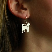 Min 1 Pair Handmade Jewelry Husky Earrings Dog Studs Silver Dog Charms Dangle Charm Memorial Mothers Day Gift For Women Lover