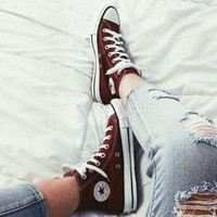 Tagre Converse Fashion Canvas Flats Sneakers Sport Shoes High tops Wine red