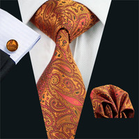 FA-976 Mens Tie Orange Paisley Silk Jacquard Neck tie Tie Hanky Cufflinks Set Ties For Men Business Wedding Party Free Shipping