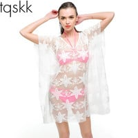 Sexy Swimwear Crochet Cover Up Women 2015 Summer Beach Bikini Cover Ups Knitting Swimsuit Cover Up Beach Wear WS004-2
