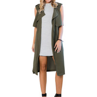 Army Green Sleeveless Long Coat