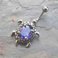 Tanzanite Turtle Belly Button Ring Jewelry