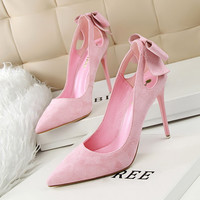 Butterfly High Heel Slim Suede Pointed Toe Hollow Out Shoes [10761262031]