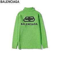 Balenciaga 2019 new knit double B jacquard letter high collar sweater Green