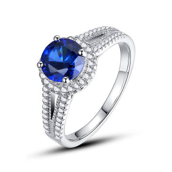 Sterling Silver 2.5 Carats Round Sapphire Ring
