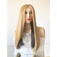 "ANGELIC Honey Blonde and Brown Lace Front Wig 18"" 919 23"