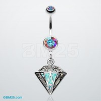 Urban Iridescent Diamond Belly Button Ring