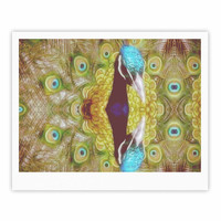 """Suzanne Carter """"Reflected"""" Green Peacock Fine Art Gallery Print"""