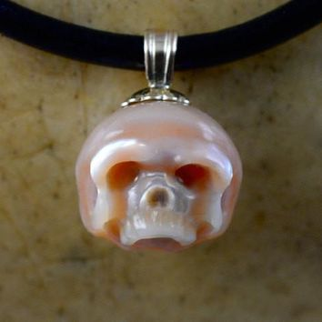 Hand Carved Pink Pearl Skull with 14k Gold Bail on Leather Necklace
