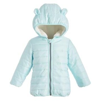 First Impressions Baby Boys Fur-Lined Hooded Bear Puffer Jacket,3/6/GLACIER