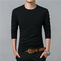 Men Autumn Casual All-match Long Sleeve O-Neck T-Shirt Men Clothing Soft Cotton Tee Shirts Tops