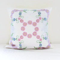 Pastel cushion cover, vintage embroidery, pastel flower pillow cover, floral decor, upcycled vintage fabric, handmade in the UK