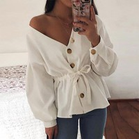 V Neck Casual Corduroy Shirt Women Long Lantern Sleeve Sexy Drawstring Top Fashion Womens Tops and Blouses