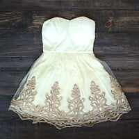 Vintage Inspired Golden Party Dress