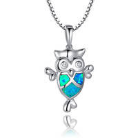Sterling Silver Owl W. Blue and Green Fire Opal Eye Pendant Necklace