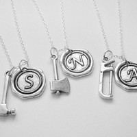 3 Best Friends Wax Seal Initial Construction Necklaces BFF  You Choose The Charms
