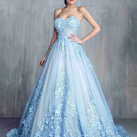 Vintage A Line Flower Applique Wedding Dress Floor Length  Blue Lace Tulle Sequin Wedding Gown WD411