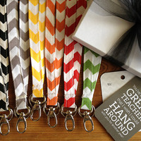 Chevron Stripe Fabric Lanyard Teacher Gift by ewindbiglerdesign