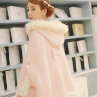 Winter Lovely Princess Pink Pashm Coat with Fur Hat Free Ship SP141389