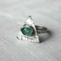 The Egyptian Ring - Sterling silver and Chrysoprase Ring - Sterling Silver Jewelry Handmade Size 5 (UK/AUS J 1/2)