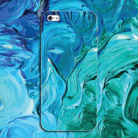 Blue Tie-dyed Case Personal Tailor Cover for iPhone 7 7 Plus & iPhone 5s se 6 6s Plus + Gift Box-467