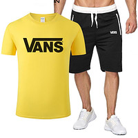 Vans Tee Classic Two Piece Sports Suit Top Shorts T Shirt Yellow