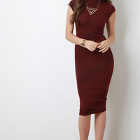 Ribbed Knit Mock Neck Midi Dress