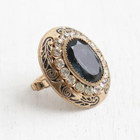 Vintage Sapphire Blue Stone & Black Enamel Brass Ring - Antique 1930s Art Deco Large Statement Size 6 Costume Jewelry Cocktail Ring