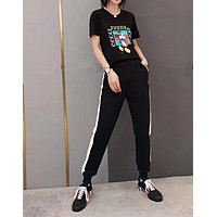 """Gucci"" Women Casual Fashion Pattern Letter Print Short Sleeve Trousers Set Two-Piece Sportswear"