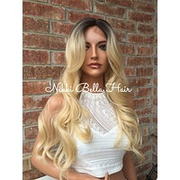 """Cayle Bayalage Rooted Blond Human Hair Blend Lace Part Wig 24"""""""