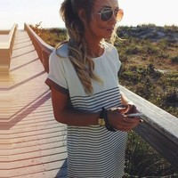 Summer Women Short Sleeve Striped Casual Loose T-Shirt Tops Tee Mini Shirt Dress = 5739069569