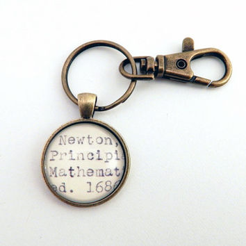 Issac Newton key chain, Principia Mathematica, math gift, physics keychain, gifts for math majors, gifts for scientists,math graduation gift
