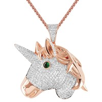 Unicorn Head Emerald Eye Bling 14k Rose Gold Finish Pendant