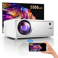 """Projector, YABER WiFi Mini Projector 5500 Lux Full HD 1080P and 200"""" Supported, Portable Wireless Mirroring Projector for iOS/Android/TV Stick/PS4/PC Home & Outdoor White"""