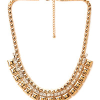 FOREVER 21 Pyramid Studded Collar Necklace Gold One