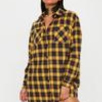 Missguided - Yellow Oversized Check Shirt Dress