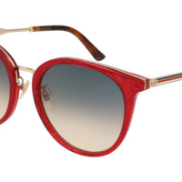Gucci - GG0204SK-005 Red Gold Sunglasses / Blue Gradient Lenses