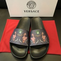 Versace Print Leather Slides Sandals Dsu6768