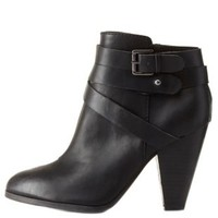 Qupid Belted Chunky Heel Booties by Charlotte Russe - Black