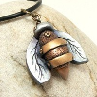 Bee Jewelry Pendant Small Industrial Steampunk Style Rustic Urban