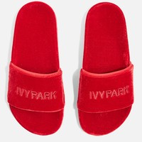 Velvet Embossed Sliders by Ivy Park | Topshop