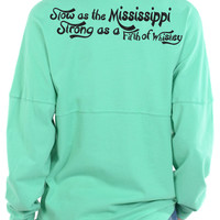 Slow As The Mississippi, Strong As A Fifth Of Whiskey - Long Sleeve Football Tee