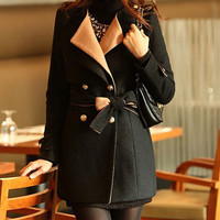'The Paola' Black Tailored Collar Trench Coat