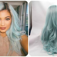 RARE Brand New 2015 Kylie Jenner Celebrity Inspired Custom Ombre Brown/Powder Ice Blue High Quality Heat Resistant Lace Glueless Wig