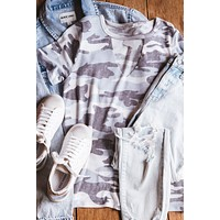 Unwritten Camo Cut-Out Knit Tee, Grey Mix   Extended Sizes Available