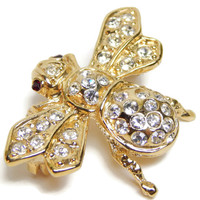 Gold Bee Pin Bumble Bee Brooch Roman Gold White Red Rhinestones