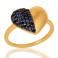 Blue Sapphire Heart Shape 18K Gold Plated Sterling Silver Love Ring