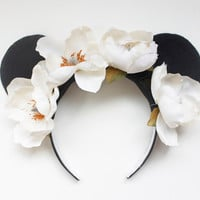 Reduced Price White Large Flower Minnie Mouse Ears