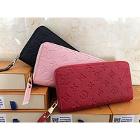 Louis Vuitton LV Trending Popular Women Men Leather Zipper Tote Handbag Zipper Wallet Purse Bag