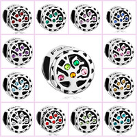 Pugster Multicolor Love Family Tree Of Life Charm Bracelet Spacer Charm Bracele - 12 Colors